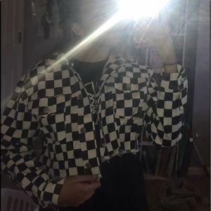 brand new denim/jean checkered jacket
